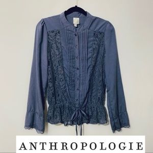 ANTHROPOLOGIE Long Sleeve Lace Blouse